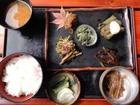 山菜定食 求道 山菜 いわな料理(白骨温泉)