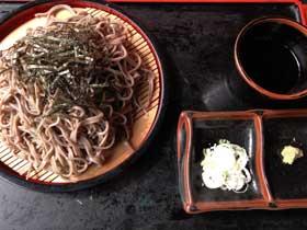 ざるそば 求道 山菜 いわな料理(白骨温泉)