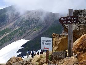 乗鞍畳平富士見岳の分岐地点