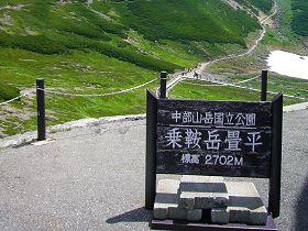 乗鞍岳畳平(2702m)の看板